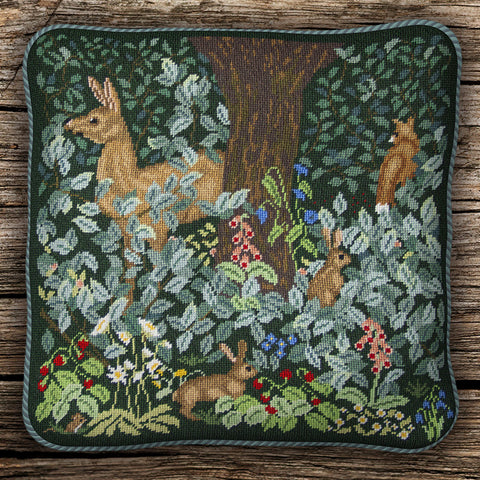 Woodland cushion (dark background)