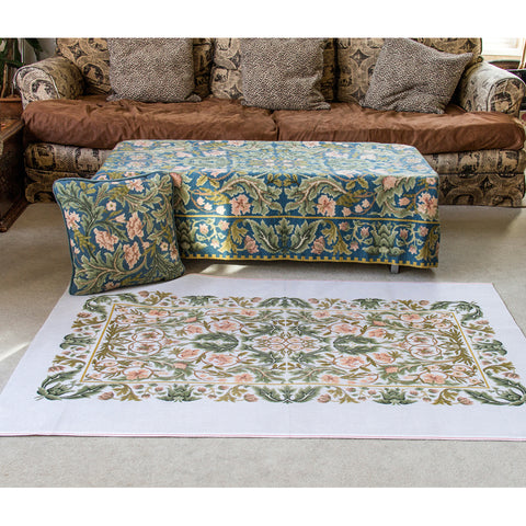 Acanthus rug (small) canvas, with large rug behind