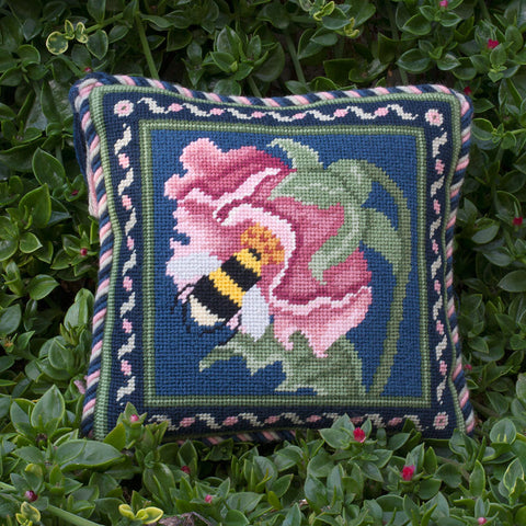 Bee miniature needlepoint kit in blue