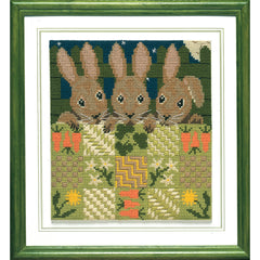 Bunnies in Bed needlepoint kit