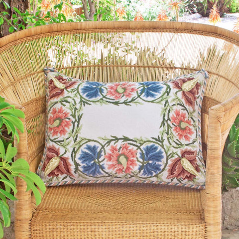 Flower border needlepoint kit with light background