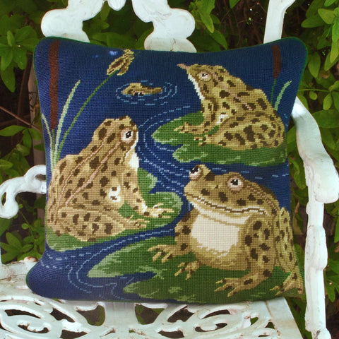 Frogs Beth Russell needlepoint cushion kit