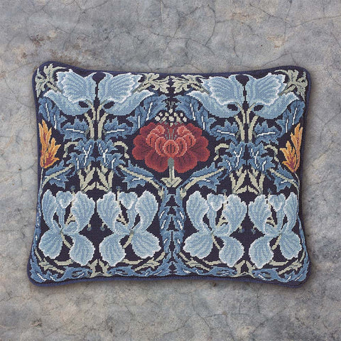 Tulip & Rose needlepoint kit with dark blue background
