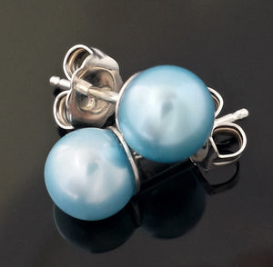 "Pearls, cultured - 6mm ""powder blue"" color studs in Sterling"