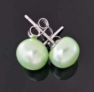 "Pearls, cultured - 9mm ""light green"" color studs in Sterling"
