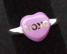 "Load image into Gallery viewer, Ring - Enamel Purple ""XOXO"" on Sterling - size 6"