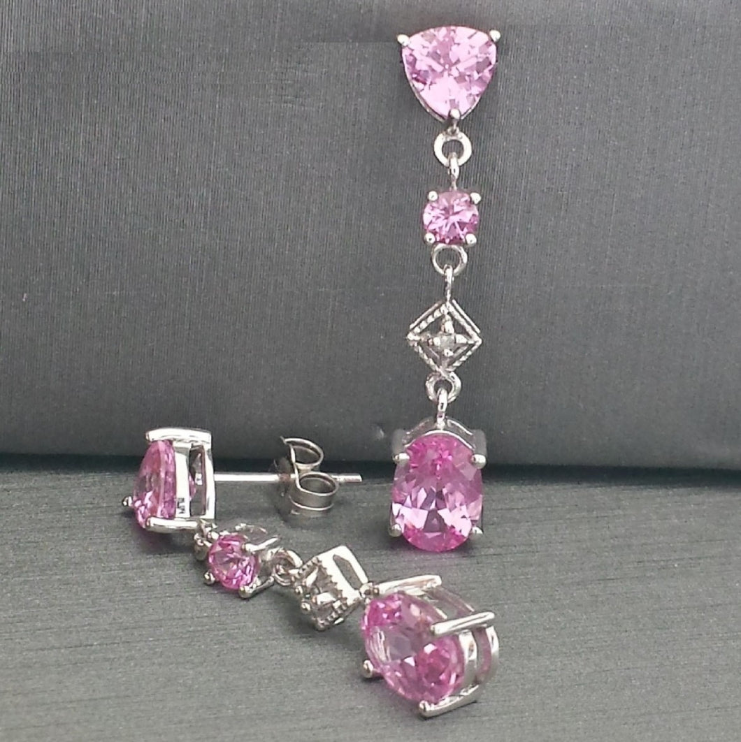 Earrings - Estate - Synthetic Pink Sapphire, Diamond in 10k White gold