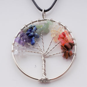 "Necklace - Gemstone ""Chakra tree"" on black cord"