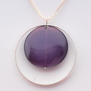 Necklace - Amethyst in Sterling modern design