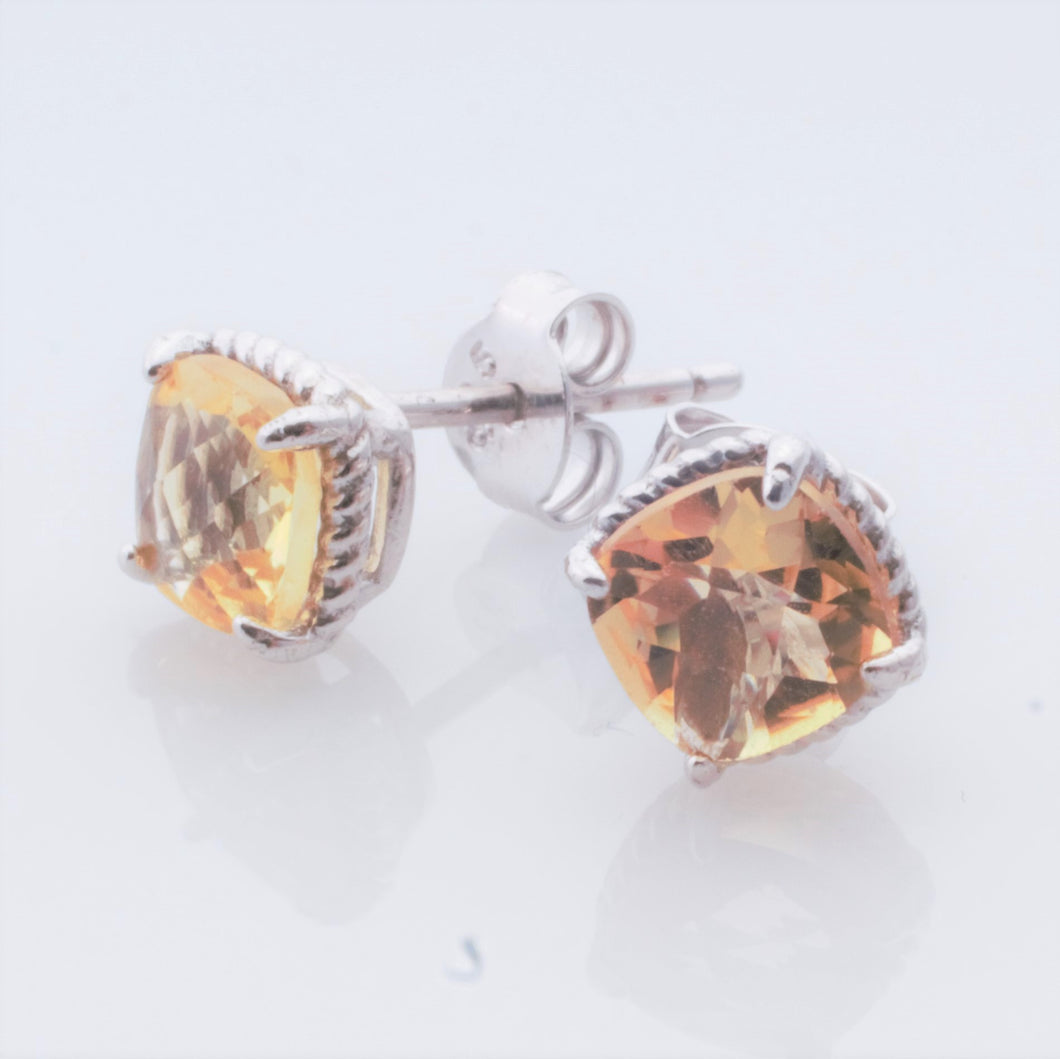 Earrings - Citrine studs in Sterling