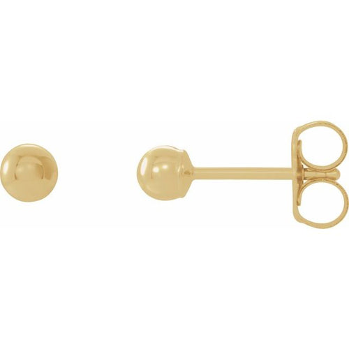 Earrings - 14k Yellow Gold studs - 3mm size