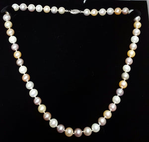 "Pearls, cultured - 18"" necklace, bolder colors, multi-color"
