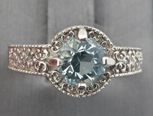 Load image into Gallery viewer, Ring - Aquamarine (hand-cut), Edwardian-style custom ring in Continuum Silver - size 7