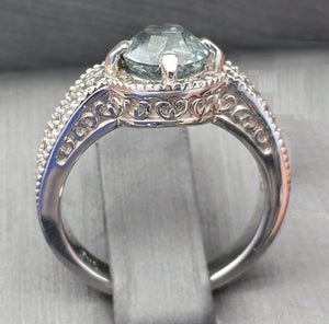 Ring - Aquamarine (hand-cut), Edwardian-style custom ring in Continuum Silver - size 7