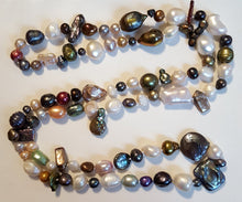 "Load image into Gallery viewer, Pearls, Freshwater - hand-knotted multicolor 24"" strand - no clasp"