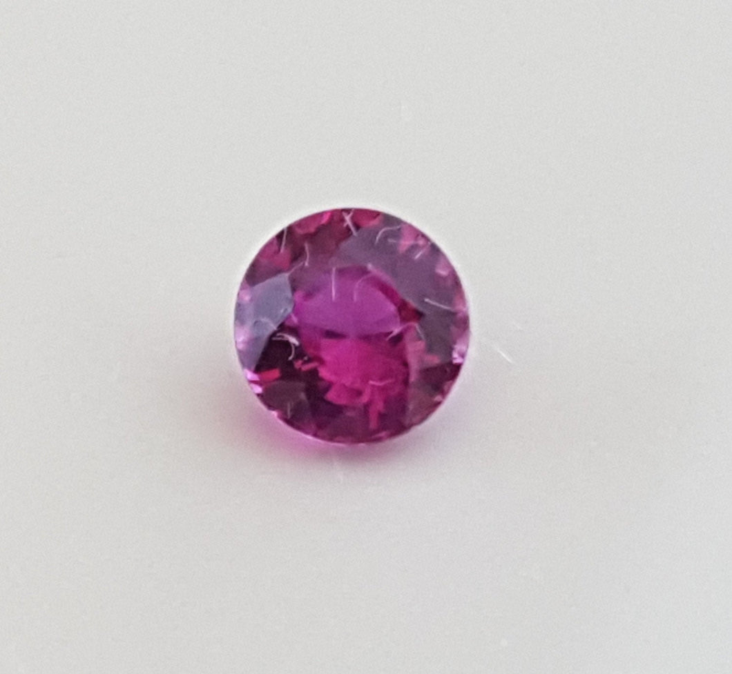Gemstone - Sapphire, Pink (UNheated), vivid pink color - 0.375 cts round