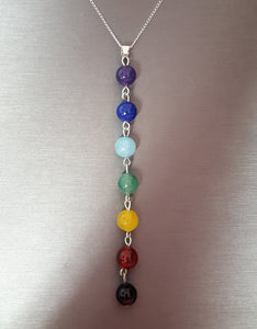 "Necklace - Gemstone Chakra pendant on 18"" Sterling chain"