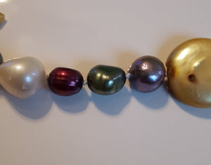 "Pearls, Freshwater - hand-knotted multicolor 24"" strand - no clasp"