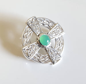 Brooch - Celtic design with Chrysoprase cab in Sterling Silver