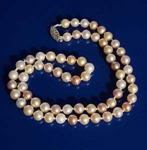"Pearls, cultured - 18"" necklace, lighter colors, multi-color"