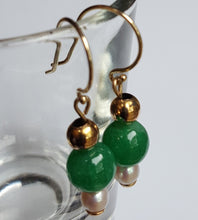 Load image into Gallery viewer, Earrings - Jade, Pearl in 14k Gold (handmade)