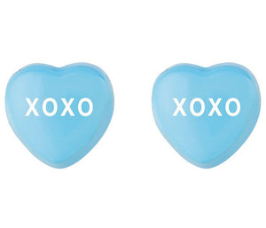 "Earrings - Enamel Blue ""XOXO"" on Sterling"