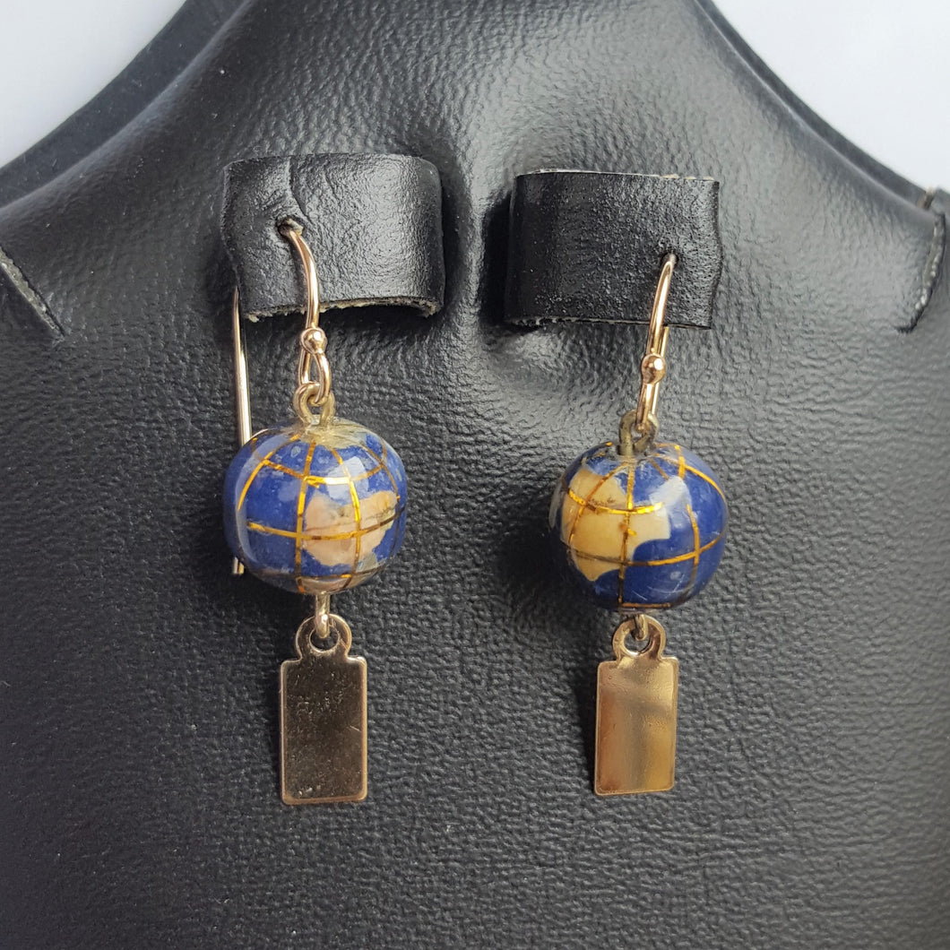 Earrings - Yeondeung (lantern) design - 14k Gold with gemstone