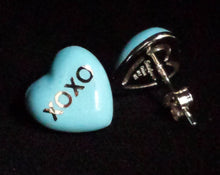 "Load image into Gallery viewer, Earrings - Enamel Blue ""XOXO"" on Sterling"