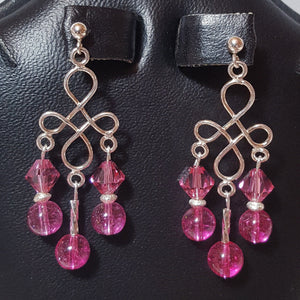 Earrings - Tourmaline, pink, and Swarovski crystal in Sterling (handmade)