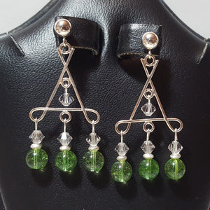 Earrings - Tourmaline, green, and Swarovski crystal in Sterling (handmade)