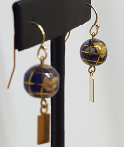 "Earrings - Yeondeung (lantern) design - 14k Gold with gemstone ""globes"""