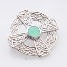 Load image into Gallery viewer, Brooch - Celtic design with Chrysoprase cab in Sterling Silver