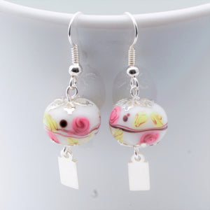 Earrings - Yeondeung (lantern) design - white with pink floral in Sterling