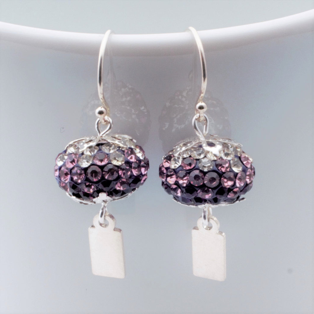 Earrings - Yeondeung (lantern) design - purple ombre rhinestones in Sterling
