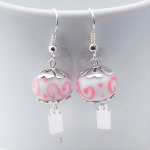 Earrings - Yeondeung (lantern) design - white with pink swirls in Sterling