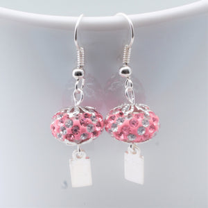 Earrings - Yeondeung (lantern) design - pink, white rhinestones in Sterling