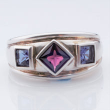 Load image into Gallery viewer, Ring - Garnet and 2 Amethysts in Sterling chunky ring