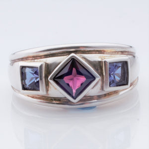Ring - Garnet and 2 Amethysts in Sterling chunky ring