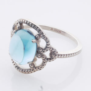 Ring - Topaz, Blue cab (hand-cut) in Sterling - Size 7.25