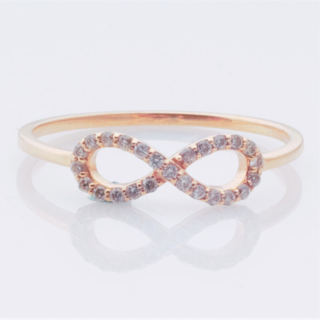 Ring - Diamonds on 14k Rose Gold, dainty infinity ring - size 6.5