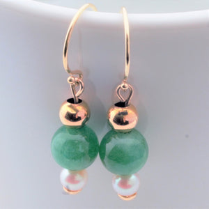 Earrings - Jade, Pearl in 14k Gold (handmade)