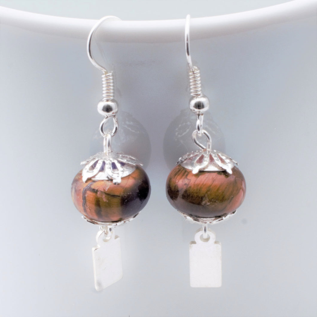 Earrings - Yeondeung (lantern) design - tiger's eye in Sterling