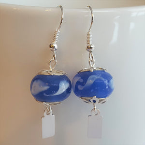 Earrings - Yeondeung (lantern) design - blue with white swirls in Sterling