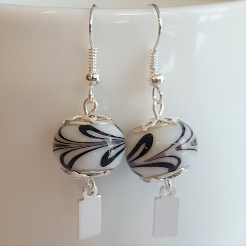 Earrings - Yeondeung (lantern) design - white with black swirls in Sterling
