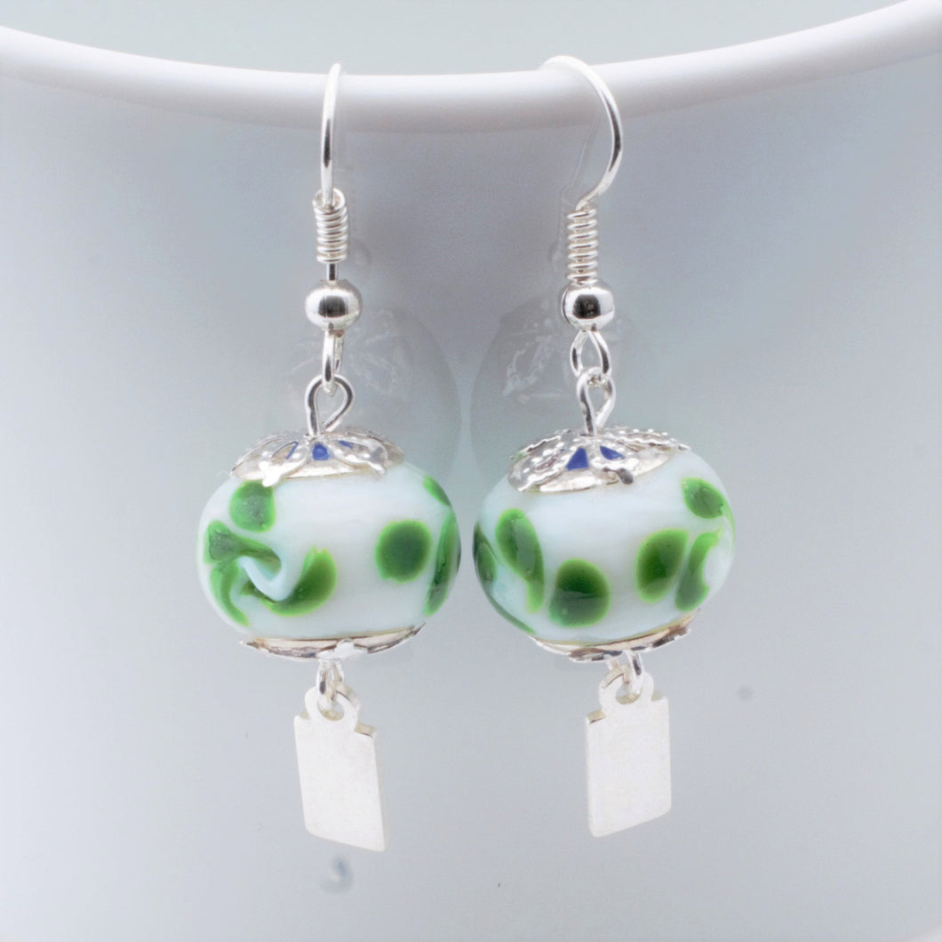 Earrings - Yeondeung (lantern) design - white with green swirls in Sterling
