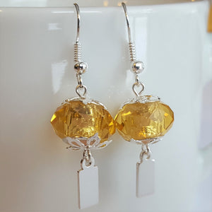 Earrings - Yeondeung (lantern) design - yellow faceted glass with Sterling
