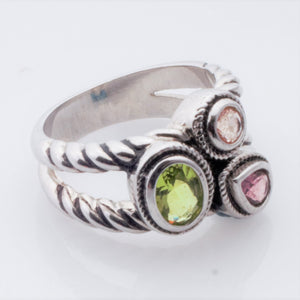 Ring - Estate - Peridot and 2 Amethysts in Sterling rope ring