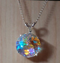 Load image into Gallery viewer, Necklace - Prismatic Glass (hand-cut) - 12mm round in Sterling