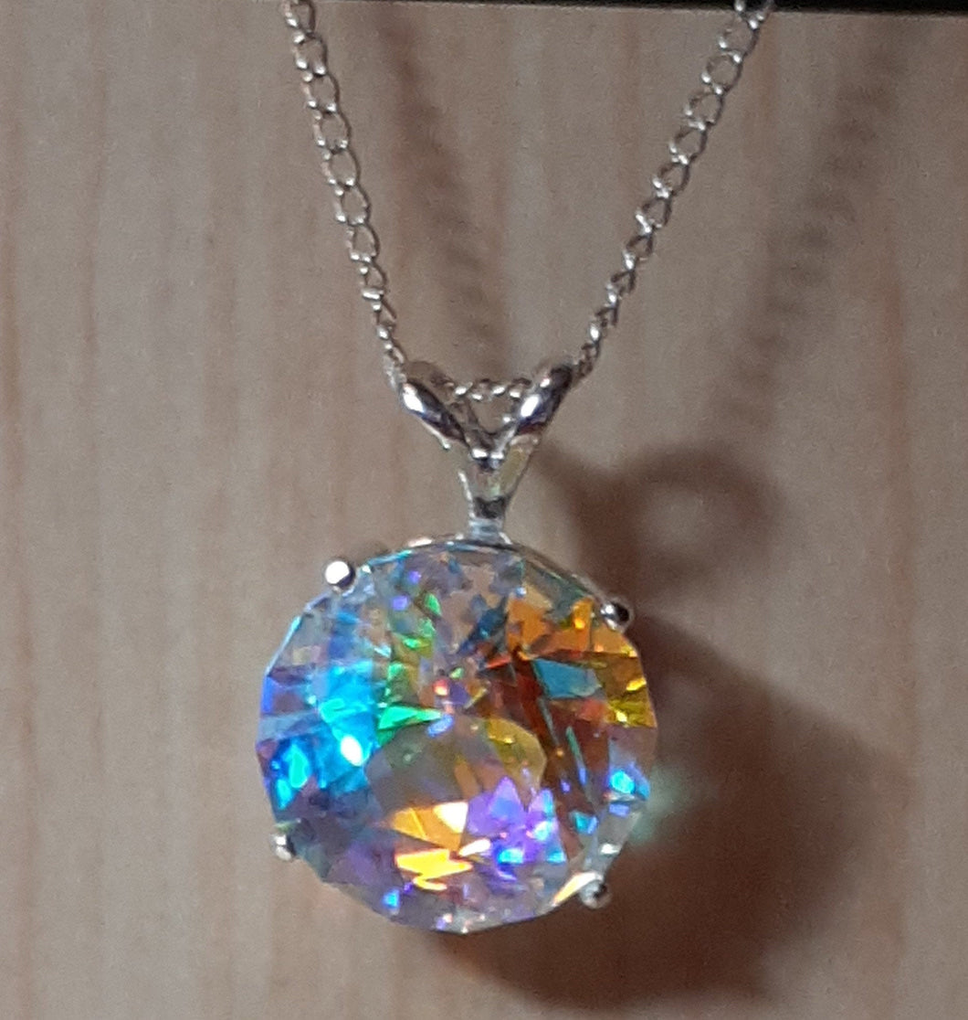 Necklace - Prismatic Glass (hand-cut) - 12mm round in Sterling