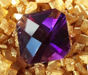 Gemstone - Amethyst (hand-cut), dark and rich coloring, 1.81 cts clipped square